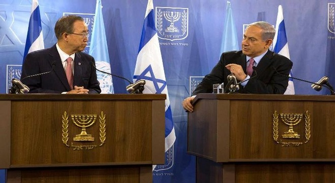 رئيس الوزراء الإسرائيلي بنيامين نتنياهو والأمين العام للأمم المتحدة بان كي مون